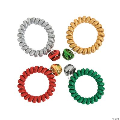 Metallic Coil Jingle Bell Bracelets