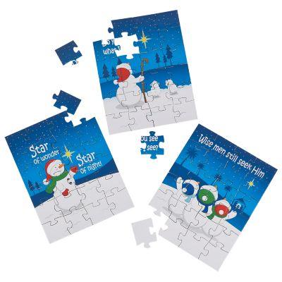 24 Religious snowman Christmas puzzles