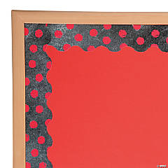 Red Dots on Chalkboard Bulletin Board Border