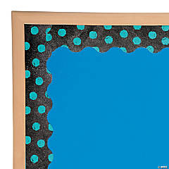 Turquoise Dots on Chalkboard Bulletin Board Border