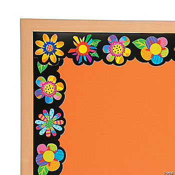poppin pattern spring flower bulletin board borders