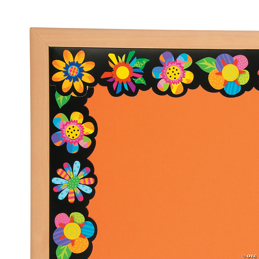 Classroom Bulletin Design ~ Poppin pattern spring flower bulletin board borders
