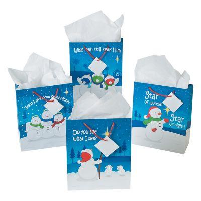 12 Religious snowman Christmas gift bags