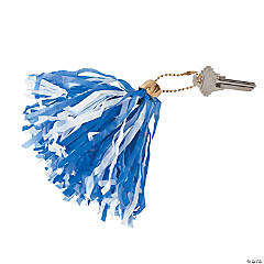 Blue & White Mini Pom-Pom Keychains