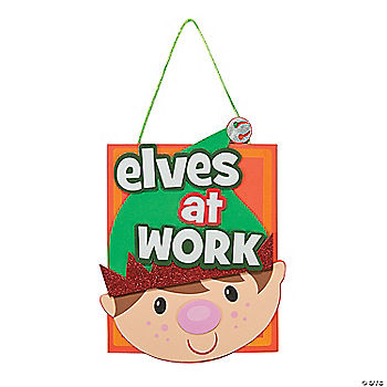 Elves At Work Sign Craft Kit - Oriental Trading - Discontinued