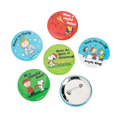 Peanuts Christmas button pins