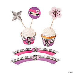 Paper Pink Ninja Cupcake Wrappers with Picks