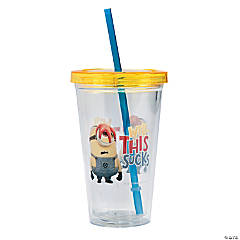 Plastic Despicable Me Double Wall Cups with Straw