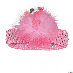 Flamingo Headband with Marabou Bow