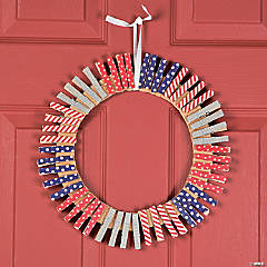 Patriotic Clothespin Wreath Idea