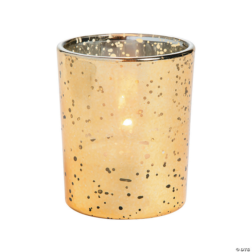 Gold flecked mercury votive holders for Cardboard candle holders