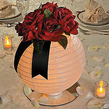 Lighted Floral Lantern Centerpiece Idea