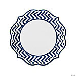 Blue Chevron Scalloped Dinner Plates