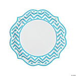 Light Blue Chevron Scalloped Dinner Plates