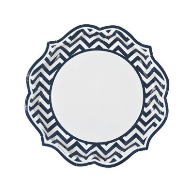 quickview · image of Navy Blue Chevron Scalloped Paper Dinner Plates with sku13731746  sc 1 st  Oriental Trading : navy blue paper plates - pezcame.com