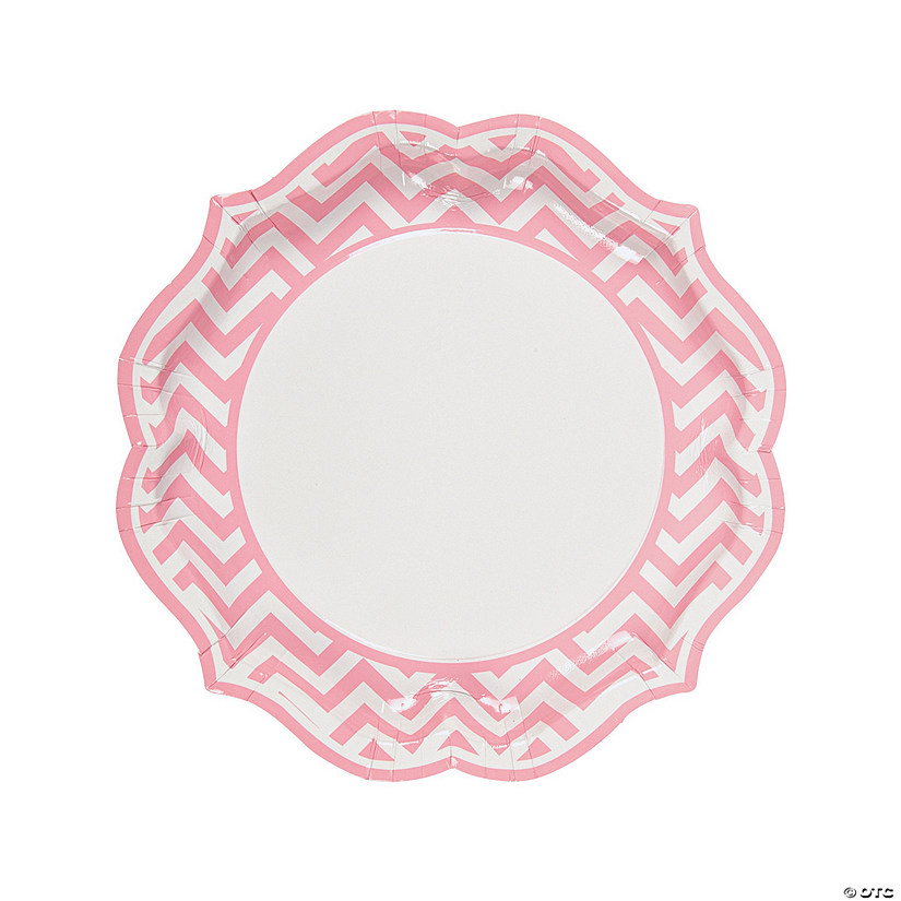 sc 1 st  Marry Me by Oriental Trading. & Light Pink Chevron Scalloped Paper Dinner Plates