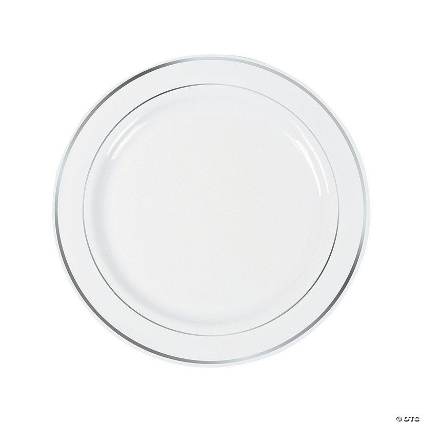 White Premium Plastic Dinner Plates with Silver Trim  sc 1 st  Oriental Trading : plates that go under dinner plates - pezcame.com
