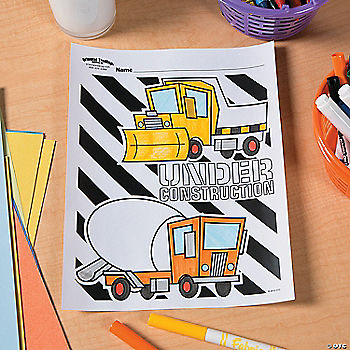 Construction Party Free Printable Coloring Page Idea