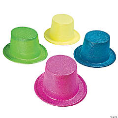 Bright Neon Glitter Top Hats