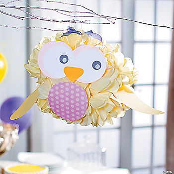 Tissue paper owl baby shower d cor idea for Baby full month decoration ideas