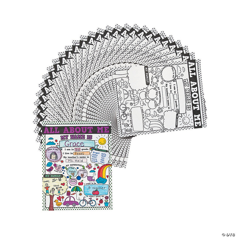 """Color Your Own """"All About Me"""" Doodle Posters"""