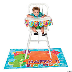 Little Dino 1st Birthday High Chair Decorating Kit