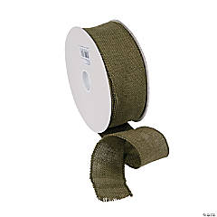 Moss Green Burlap Ribbon - 2 1/2