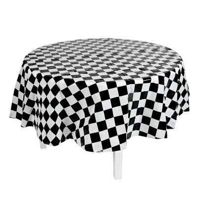 Quickview · Image Of Black U0026 White Checkered Round Plastic Tablecloth With  Sku:13749388
