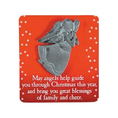 Christmas angel jewelry pins carded