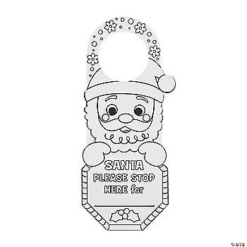 Color Your Own Santa Stop Here Doorknob Hangers