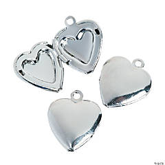 Silvertone Heart Locket Charms