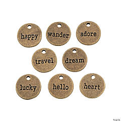 Antique Goldtone Word Token Charms