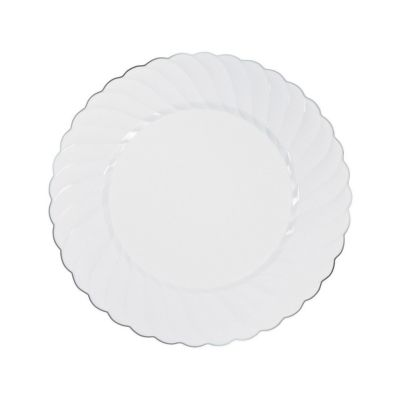 quickview · image of White Premium Plastic Dinner Plates with Silver-Trim with sku13754003  sc 1 st  Oriental Trading : black plastic dinner plates - pezcame.com