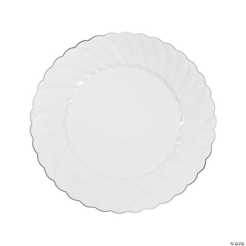 sc 1 st  Oriental Trading & White Premium Plastic Dinner Plates with Silver-Trim