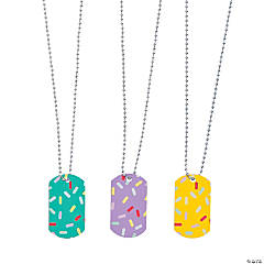 Donut Party Dog Tag Necklaces