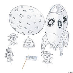 Color Your Own 3D Rocket Ship Playset
