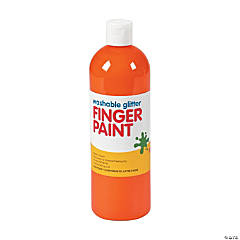 Washable Orange Glitter Finger Paint - 16 oz.