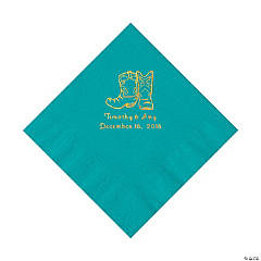 Turquoise Cowboy Boots Personalized Napkins with Gold Foil - Luncheon