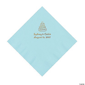 Light Blue Wedding Cake Personalized Napkins With Gold Foil