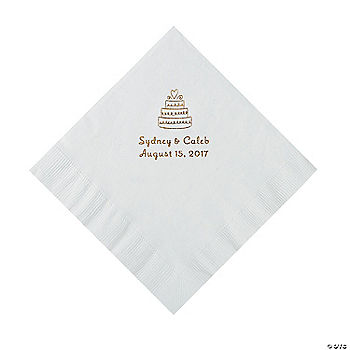 White Wedding Cake Personalized Napkins With Gold Foil
