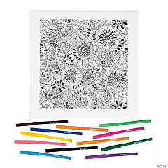 Floral Coloring Canvas Kit