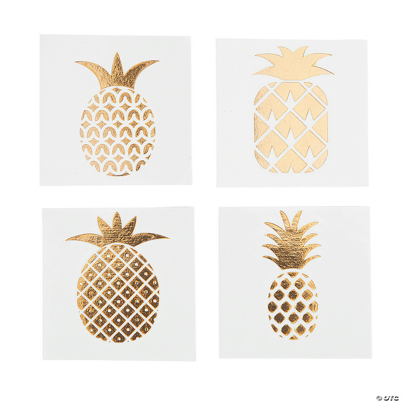 Gold foil pineapple tattoo assortment for Gold foil tattoo