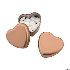 Gold Heart-Shaped Tins with Mints