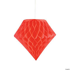 Coral Diamond Tissue Paper Hanging Decorations