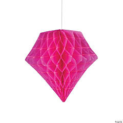 Hot Pink Diamond Tissue Paper Hanging Decorations