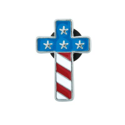 Christian Patriotic Cross Flag pins