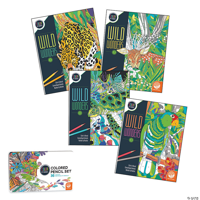 Wild Wonders Color By Number Book Set with 36 Colored Pencils