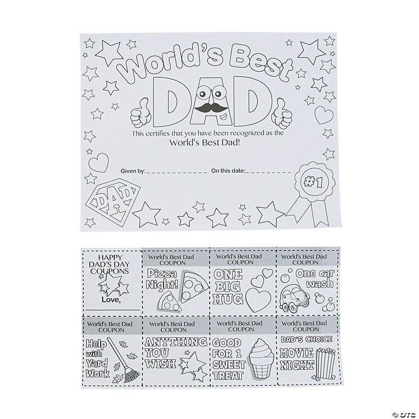 color your own best dad certificates