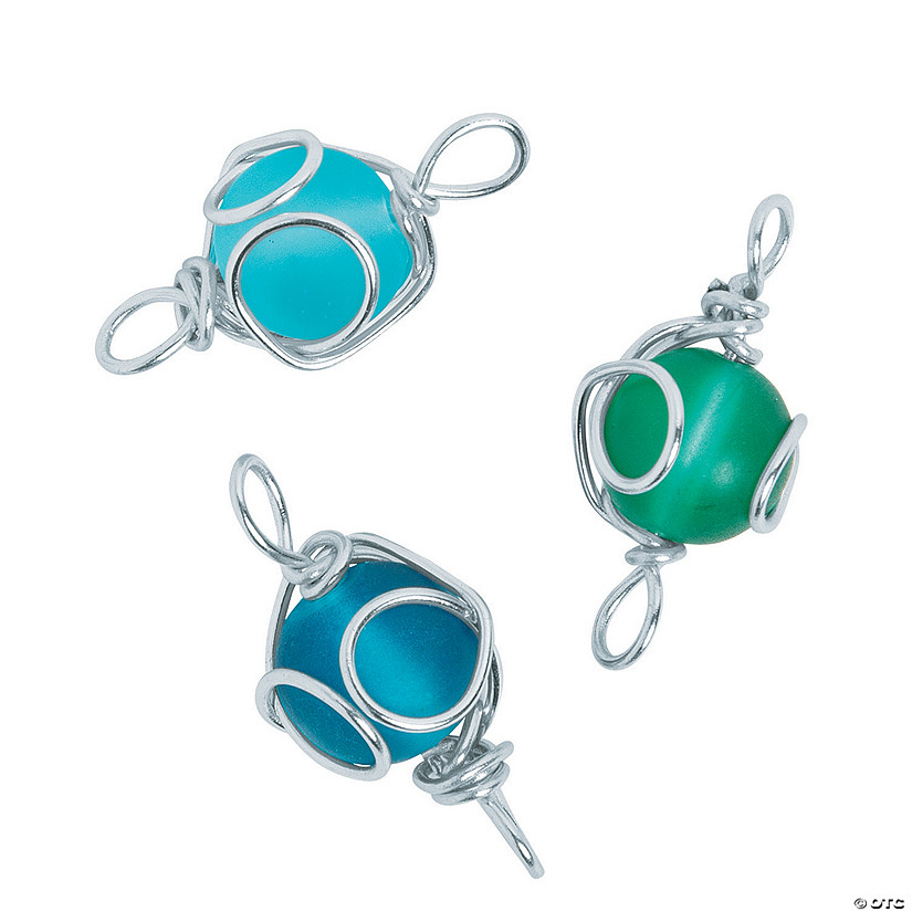 Wire-Wrapped Sea Glass Beads - 10mm