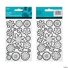 Art Zone™ Coloring Stickers - Flowers